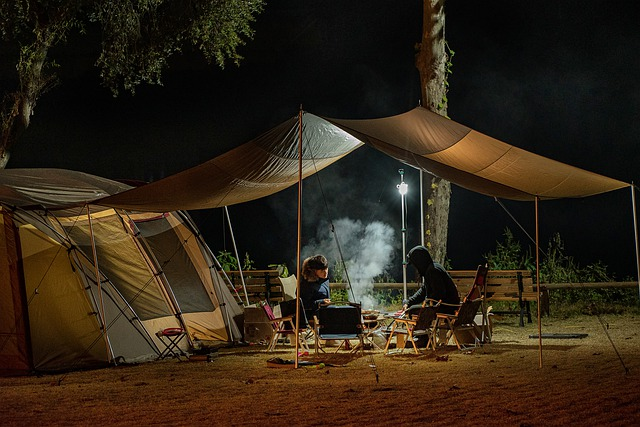 A group of people in a tent